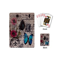 Floral Scripts Blue Butterfly Eiffel Tower Vintage Paris Fashion Playing Cards (mini)