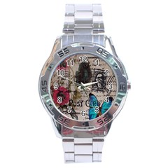 Floral Scripts Blue Butterfly Eiffel Tower Vintage Paris Fashion Stainless Steel Watch (Men s)