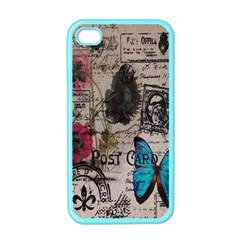 Floral Scripts Blue Butterfly Eiffel Tower Vintage Paris Fashion Apple iPhone 4 Case (Color)