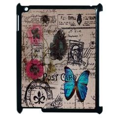 Floral Scripts Blue Butterfly Eiffel Tower Vintage Paris Fashion Apple iPad 2 Case (Black)