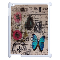 Floral Scripts Blue Butterfly Eiffel Tower Vintage Paris Fashion Apple Ipad 2 Case (white)