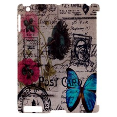 Floral Scripts Blue Butterfly Eiffel Tower Vintage Paris Fashion Apple iPad 2 Hardshell Case (Compatible with Smart Cover)