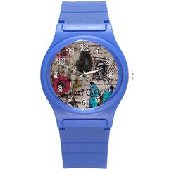 Floral Scripts Blue Butterfly Eiffel Tower Vintage Paris Fashion Plastic Sport Watch (small)