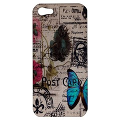 Floral Scripts Blue Butterfly Eiffel Tower Vintage Paris Fashion Apple iPhone 5 Hardshell Case
