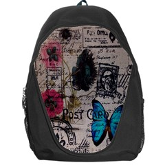 Floral Scripts Blue Butterfly Eiffel Tower Vintage Paris Fashion Backpack Bag