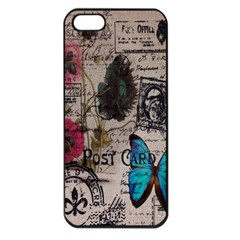 Floral Scripts Blue Butterfly Eiffel Tower Vintage Paris Fashion Apple Iphone 5 Seamless Case (black)