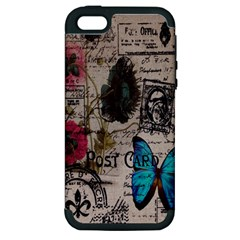 Floral Scripts Blue Butterfly Eiffel Tower Vintage Paris Fashion Apple iPhone 5 Hardshell Case (PC+Silicone)