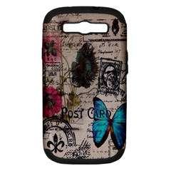 Floral Scripts Blue Butterfly Eiffel Tower Vintage Paris Fashion Samsung Galaxy S III Hardshell Case (PC+Silicone)