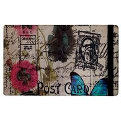 Floral Scripts Blue Butterfly Eiffel Tower Vintage Paris Fashion Apple Ipad 2 Flip Case