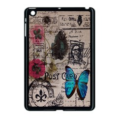 Floral Scripts Blue Butterfly Eiffel Tower Vintage Paris Fashion Apple iPad Mini Case (Black)