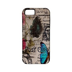 Floral Scripts Blue Butterfly Eiffel Tower Vintage Paris Fashion Apple iPhone 5 Classic Hardshell Case (PC+Silicone)