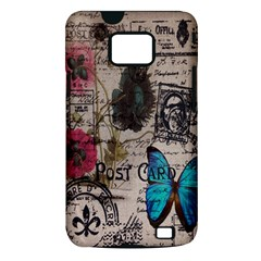 Floral Scripts Blue Butterfly Eiffel Tower Vintage Paris Fashion Samsung Galaxy S II Hardshell Case (PC+Silicone)