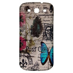 Floral Scripts Blue Butterfly Eiffel Tower Vintage Paris Fashion Samsung Galaxy S3 S III Classic Hardshell Back Case
