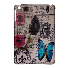 Floral Scripts Blue Butterfly Eiffel Tower Vintage Paris Fashion Apple Ipad Mini Hardshell Case (compatible With Smart Cover)