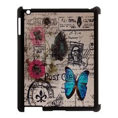 Floral Scripts Blue Butterfly Eiffel Tower Vintage Paris Fashion Apple Ipad 3/4 Case (black)
