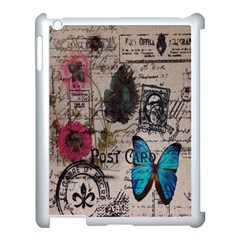 Floral Scripts Blue Butterfly Eiffel Tower Vintage Paris Fashion Apple iPad 3/4 Case (White)