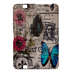 Floral Scripts Blue Butterfly Eiffel Tower Vintage Paris Fashion Kindle Fire HD 8.9  Hardshell Case