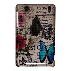 Floral Scripts Blue Butterfly Eiffel Tower Vintage Paris Fashion Google Nexus 7 Hardshell Case