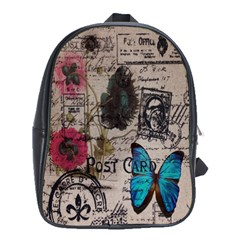 Floral Scripts Blue Butterfly Eiffel Tower Vintage Paris Fashion School Bag (XL)