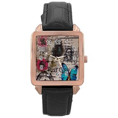 Floral Scripts Blue Butterfly Eiffel Tower Vintage Paris Fashion Rose Gold Leather Watch