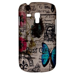 Floral Scripts Blue Butterfly Eiffel Tower Vintage Paris Fashion Samsung Galaxy S3 Mini I8190 Hardshell Case