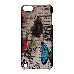 Floral Scripts Blue Butterfly Eiffel Tower Vintage Paris Fashion Apple Ipod Touch 5 Hardshell Case With Stand