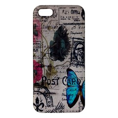 Floral Scripts Blue Butterfly Eiffel Tower Vintage Paris Fashion iPhone 5 Premium Hardshell Case