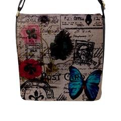 Floral Scripts Blue Butterfly Eiffel Tower Vintage Paris Fashion Flap Closure Messenger Bag (large)