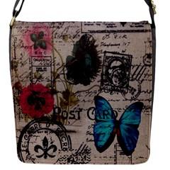 Floral Scripts Blue Butterfly Eiffel Tower Vintage Paris Fashion Flap Closure Messenger Bag (small)