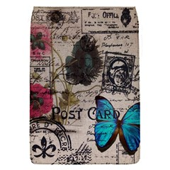 Floral Scripts Blue Butterfly Eiffel Tower Vintage Paris Fashion Removable Flap Cover (small)
