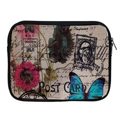 Floral Scripts Blue Butterfly Eiffel Tower Vintage Paris Fashion Apple Ipad 2/3/4 Zipper Case