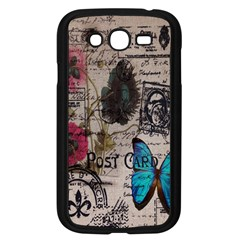 Floral Scripts Blue Butterfly Eiffel Tower Vintage Paris Fashion Samsung I9082(Galaxy Grand DUOS)(Black)