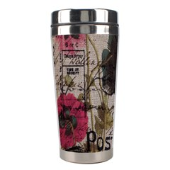 Floral Scripts Blue Butterfly Eiffel Tower Vintage Paris Fashion Stainless Steel Travel Tumbler