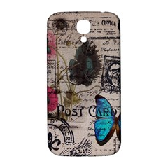 Floral Scripts Blue Butterfly Eiffel Tower Vintage Paris Fashion Samsung Galaxy S4 I9500/i9505  Hardshell Back Case