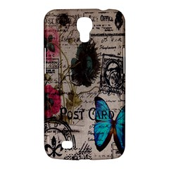Floral Scripts Blue Butterfly Eiffel Tower Vintage Paris Fashion Samsung Galaxy Mega 6 3  I9200