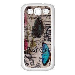 Floral Scripts Blue Butterfly Eiffel Tower Vintage Paris Fashion Samsung Galaxy S3 Back Case (white)