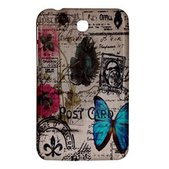 Floral Scripts Blue Butterfly Eiffel Tower Vintage Paris Fashion Samsung Galaxy Tab 3 (7 ) P3200 Hardshell Case