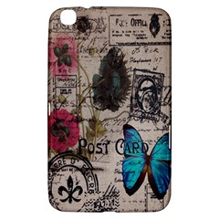 Floral Scripts Blue Butterfly Eiffel Tower Vintage Paris Fashion Samsung Galaxy Tab 3 (8 ) T3100 Hardshell Case