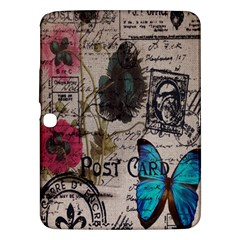 Floral Scripts Blue Butterfly Eiffel Tower Vintage Paris Fashion Samsung Galaxy Tab 3 (10.1 ) P5200 Hardshell Case