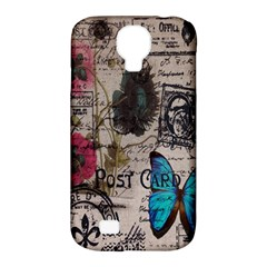 Floral Scripts Blue Butterfly Eiffel Tower Vintage Paris Fashion Samsung Galaxy S4 Classic Hardshell Case (pc+silicone)