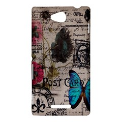 Floral Scripts Blue Butterfly Eiffel Tower Vintage Paris Fashion Sony Xperia C (S39h) Hardshell Case