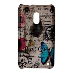 Floral Scripts Blue Butterfly Eiffel Tower Vintage Paris Fashion Nokia Lumia 620 Hardshell Case