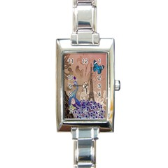 Modern Butterfly  Floral Paris Eiffel Tower Decor Rectangular Italian Charm Watch