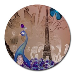 Modern Butterfly  Floral Paris Eiffel Tower Decor 8  Mouse Pad (Round)