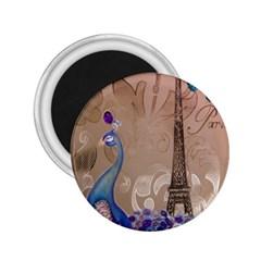 Modern Butterfly  Floral Paris Eiffel Tower Decor 2.25  Button Magnet