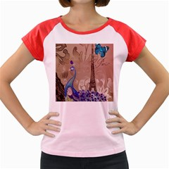 Modern Butterfly  Floral Paris Eiffel Tower Decor Women s Cap Sleeve T Shirt (colored)