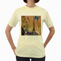 Modern Butterfly  Floral Paris Eiffel Tower Decor  Womens  T-shirt (Yellow)