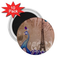 Modern Butterfly  Floral Paris Eiffel Tower Decor 2.25  Button Magnet (10 pack)
