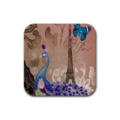 Modern Butterfly  Floral Paris Eiffel Tower Decor Drink Coaster (square)