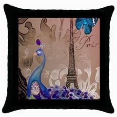 Modern Butterfly  Floral Paris Eiffel Tower Decor Black Throw Pillow Case